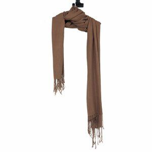 Neutral brown soft scarf with tassel ends